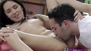 Tiny beauty gets jizzed