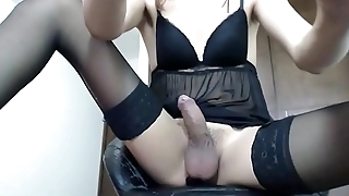 Very Hot Blond Tranny Cumming On Her Stockings