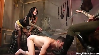 Tattooed mistress spanks her slave and gets fucked